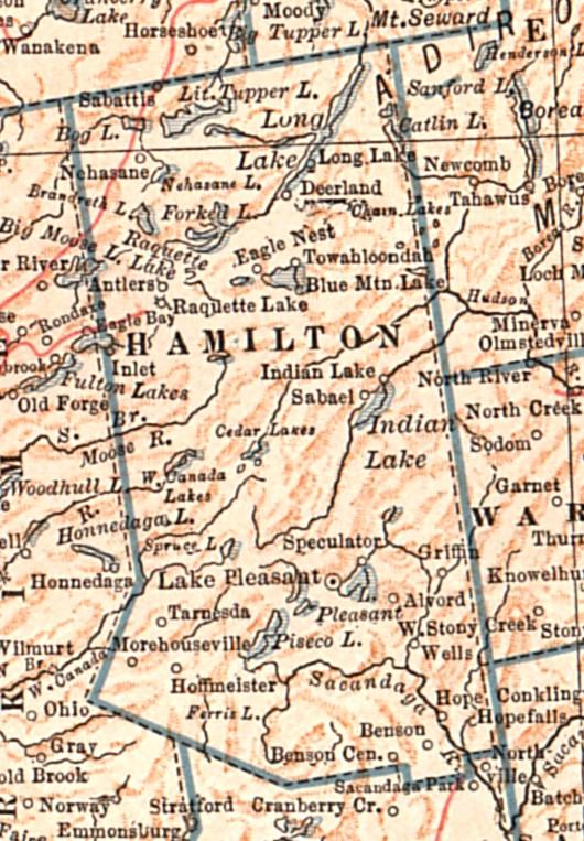 Hamilton County Ny Map 1917 Map of Hamilton County, NY